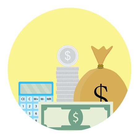 Calculate money icon. Process finance calculate, analysis bill financial, vector illustration