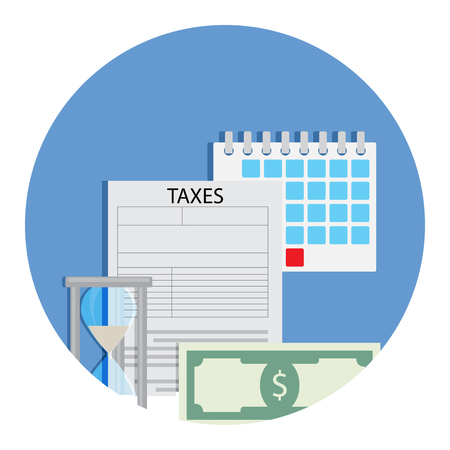 Time for taxation icon. Accounting money banknote, finance banking taxation. Vector illustration Illustration