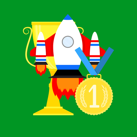 Launching rocket startup. Innovation idea and achievement concept, vector illustration