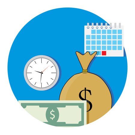 Money and business time icon flat. Salary concept fund, vector illustration Illustration