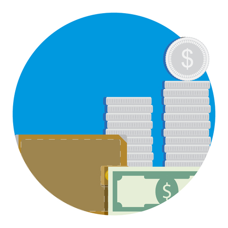 refinancing: Salary icon flat. Wallet and money. Vector illustration Illustration