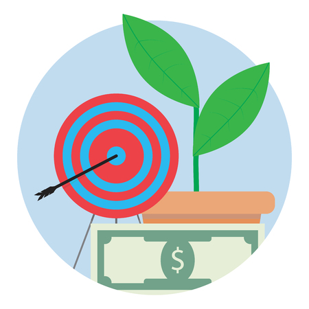 dart board: Financial target icon. Aim center, strategy and focus to banknote bill, vector illustration