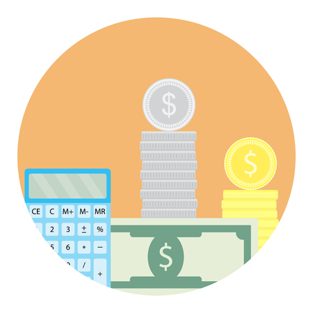 Calculate money icon. Counting account money, pay financial app icon. Vector illustration