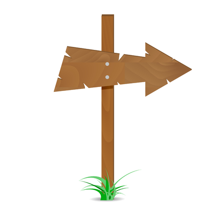 nailed: Wooden arrow sign. Road guide arrow, direction wooden arrow. Vector illustration
