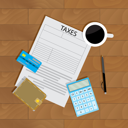 Annual payment of taxes. Banking profit and budget, wallet and audit document, vector illustration 向量圖像