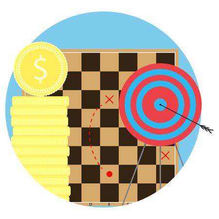Strategy to achieve objectives. Aim and arrow, business bullseye, vector illustration Illustration