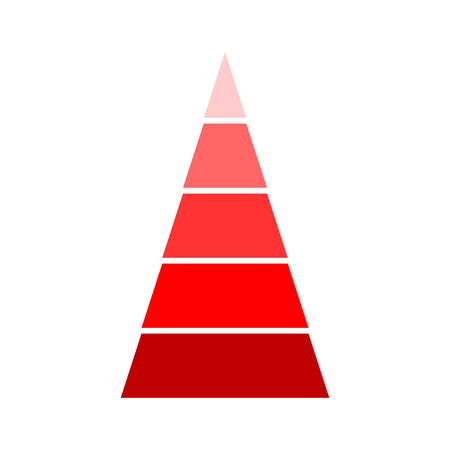 Triangular red indicator. Template of modern presentation diagram graph indication. Vector illustration