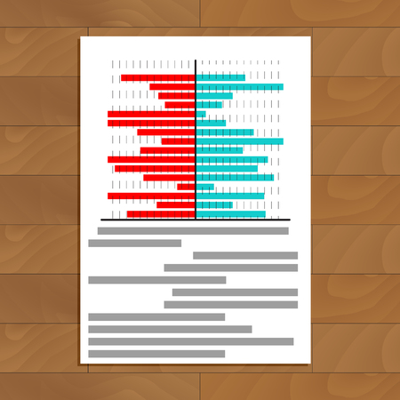 infomation: File with chart on table. Business info color chart information, vector illustration Illustration