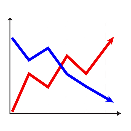 Rise and fall chart. Statistic chart and diagram element, vector illustration