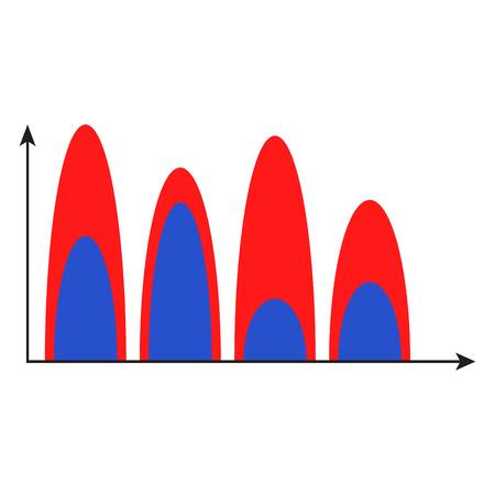 Wave chart color. Finance infomation template infochart, vector illustration