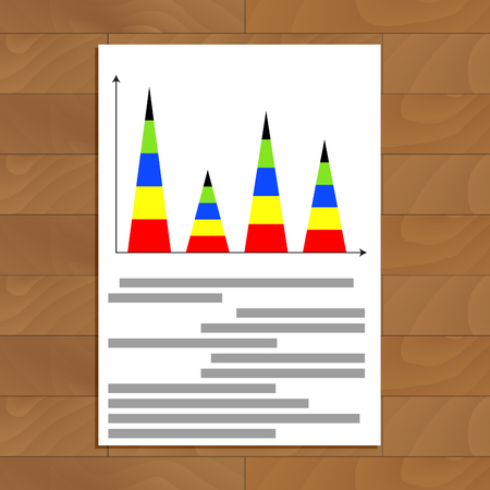 infomation: Vertical pyramidal statistics graph. Analytics financial graph and rate, vector illustration Illustration