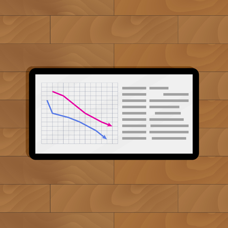 infomation: Report diagram infographic on device. Digital graphic vector illustration Illustration