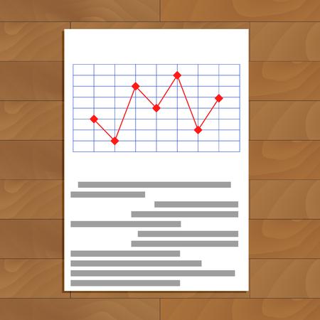infograph: Red line chart. Infograph illustration Illustration