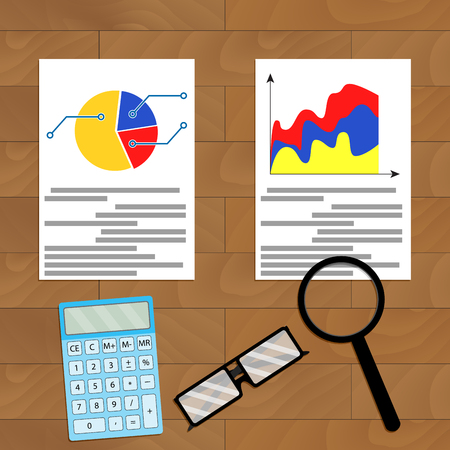 comparing: Comparing statistics. analytical infographic, accounting illustration Illustration