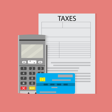 Payment of taxes. Terminal and credit card, modern transfer tax. Vector illustration