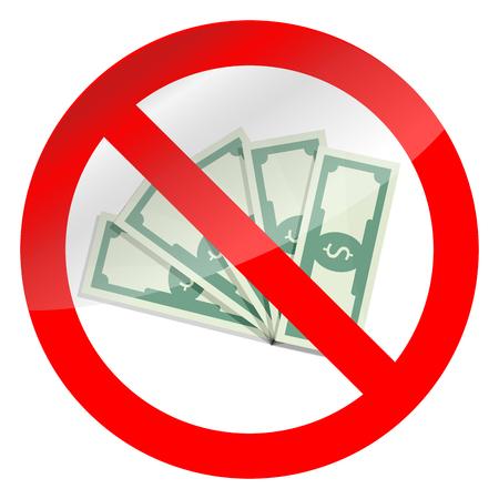 remuneraciÓn: Prohibición de corrupción y símbolo de dinero en efectivo. Prohibición de vector de signo dañado, no billete de banco ilustración