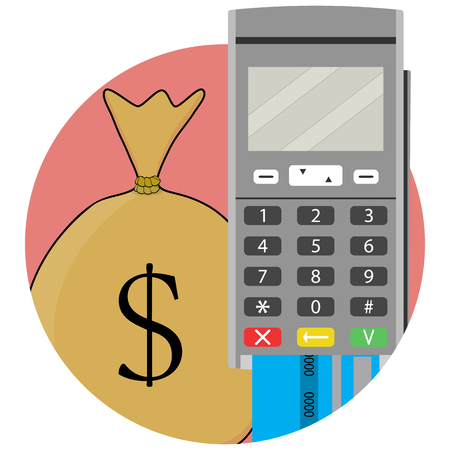 remittance: Payment and transfer of money by credit card and terminal. Send money and remittance, bank transfer and money transaction, vector illustration Illustration