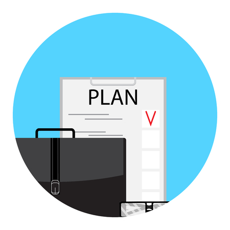 todo: Planning to-do list icon. Checklist and post it, schedule and agenda, vector illustration