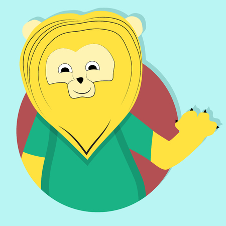 Lion cartoon icon, emblem. Lion face and vector lion head, illustration of lion symbol Illustration