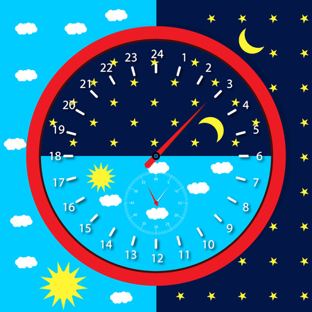 Clock face day and night.