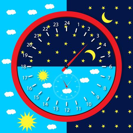 Zifferblatt Tag und Nacht. Vektorgrafik