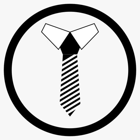 Necktie icon black white. Tie and necklace, cravat vector icon illustration Illustration