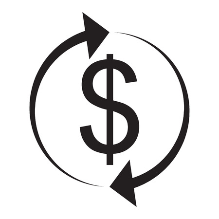 Exchange and currency conversion. Dollar Icon. Exchange icon, swap and money exchange, give and take vector illustration