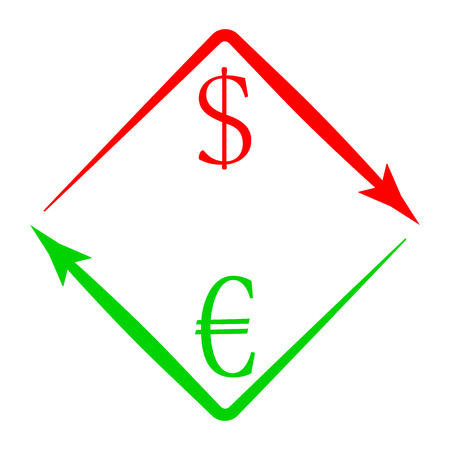Currency exchange USD EUR. Exchange icon money, change and finance barter, give and take illustration