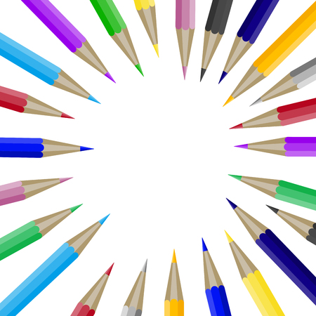 Color pencils in round shape with copyspace for text. Banner template with crayon in round shape. Copyspace for design graphic and text, education school brochure with accessories. Vector illustration