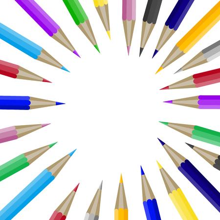 Kleurenpotloden in ronde vorm met copyspace voor tekst. Bannermalplaatje met kleurpotlood in ronde vorm. Copyspace voor ontwerpgrafiek en tekst, de brochure van de onderwijsschool met toebehoren. Vector illustratie