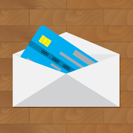 wooden post: Open credit card. Get card in envelope. Credit card in envelope, banking financial service illustration, vector card with money