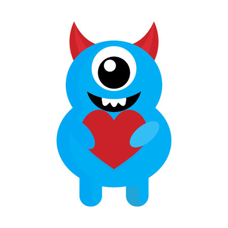 Cute monster with red heart love. Monster cartoon, vector cute alien illustration