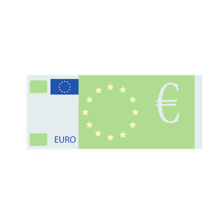 Euro banknote design flat cartoon. European money design, banknote cash, note bill share and bonus, vector illustration