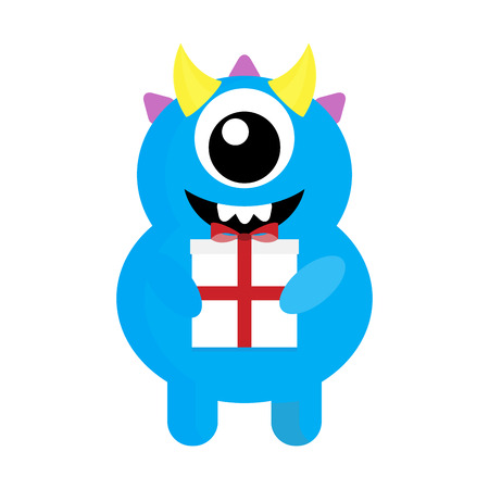 Cute monster cyclops with gift. Birthday gift, xmas gift, mutant with holiday gift. Vector illustration