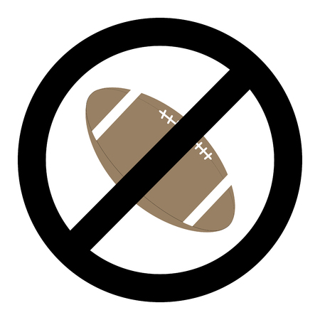 Banning ball for rugby. Vector symbol no ball and restrictions dont rugby, not american sport illustration