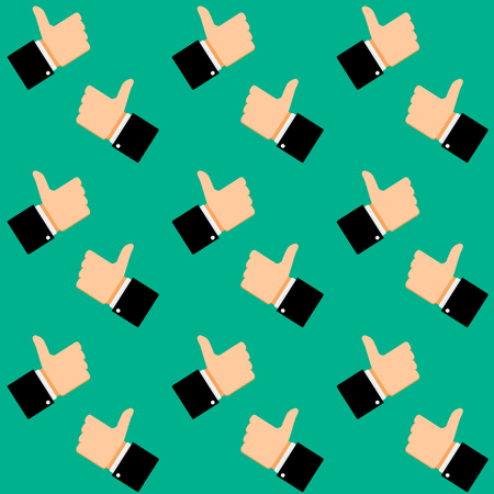 Like symbol seamless pattern. Communication hand positive and approve background, vector illustration