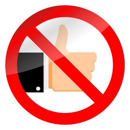 Stop like sign and ban social media. Vector no thumb up in internet symbol illustration  イラスト・ベクター素材