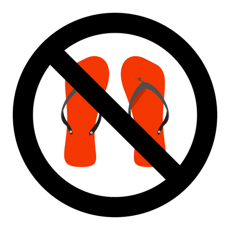 Ban flip flops sign. slipper or flip-flop advise careful, walk prohibit. Vector illustration. Do not go slapping