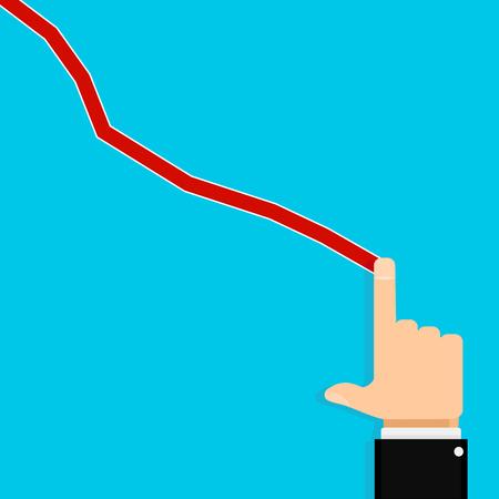 Show finger crisis chart. Vector finance market crisis chart, graph or diagram stock economy illustration Illustration