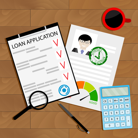 Approved credit loan concept. Financial document for mortgage, vector illustration