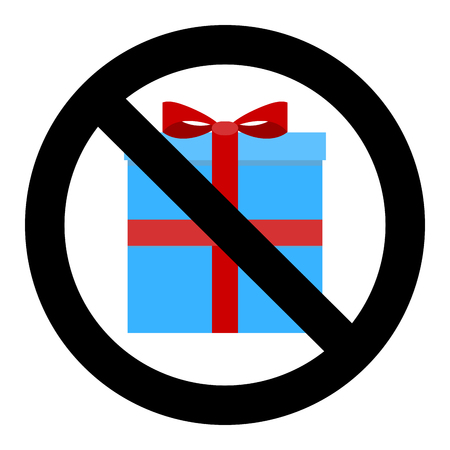 No gift and surprise. Ban giftbox ribbon, not holiday, prohibition christmas and birthday gifts. Vector illustration