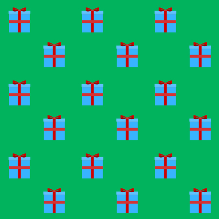 Gift box seamless pattern. Background with present to christmas and birthday, new year, vector illustration
