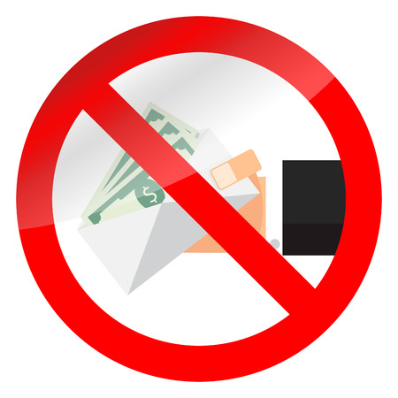 No bribery and salary in envelope symbol. Stop cash banknote and corrupt, vector illustration Illustration