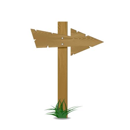 Wood arrow with green grass. Wooden arrow board blank, plank directional hardwood. Vector illustration Illustration
