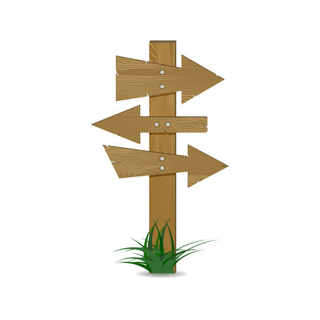 Sign roads branching. Crossroad direction signpost, directional signboard and guidepost. Vector illustration Illustration
