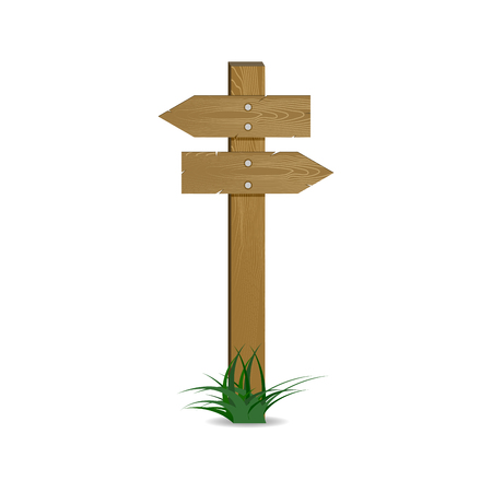 Crossroads pointer wooden arrow. Vector left and right pointing, wood signpost directional to route, signboard and guidepost illustration