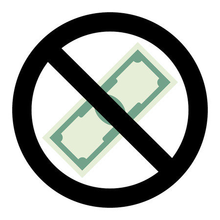 No cash money icon. Stop cash money, warning label finance, vector illustration Illustration
