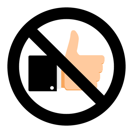No like in social network. Stop hand thumb up finger, no success approve positive in web. Vector illustration. Stock Vector - 93304796