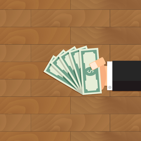 Grease the palm. Vector bribe money in hand, corruption and payment banknote, bribery in palm illustration. Illustration