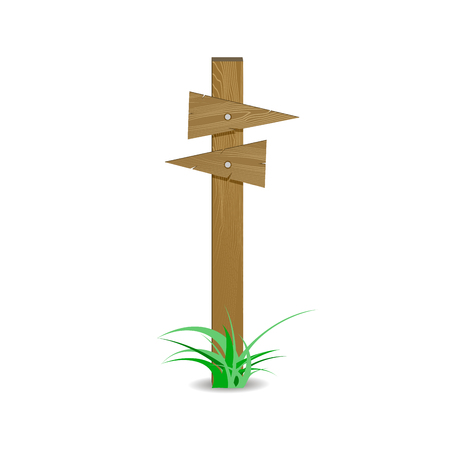 Wooden signpost board arrow directional right or left. Sign crossroad route, vector illustration.